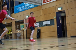 Badminton-Spieler in Aktion