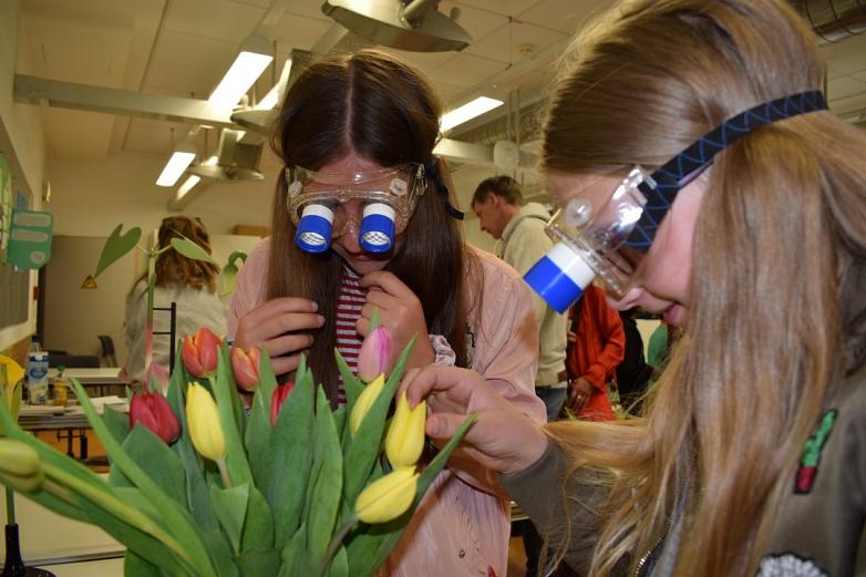 Lernen heißt auch neue Perspektiven einzunehen -  Bienenbrille bei den Biologen©MDG-Nienburg